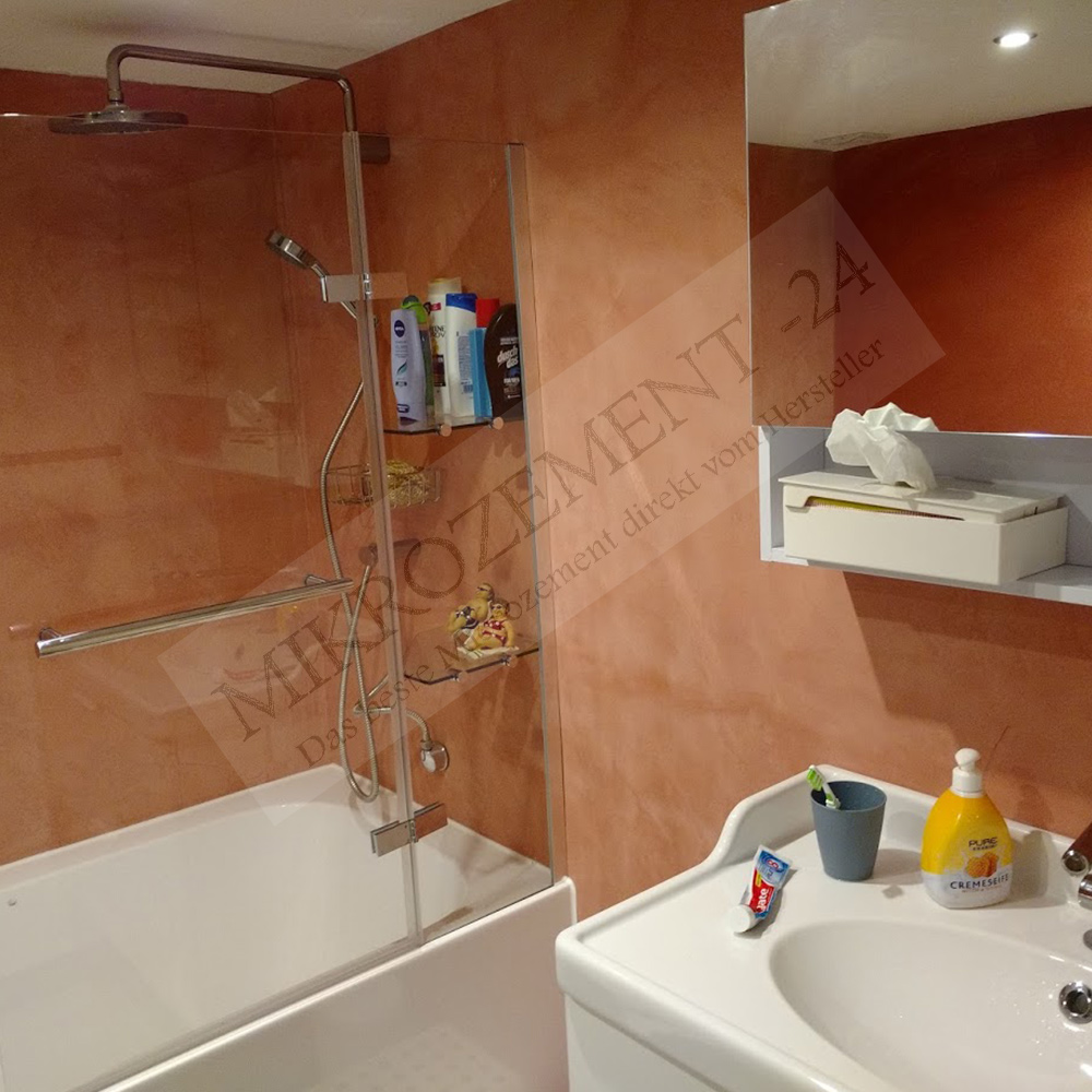 Mikrozement rot Badezimmer