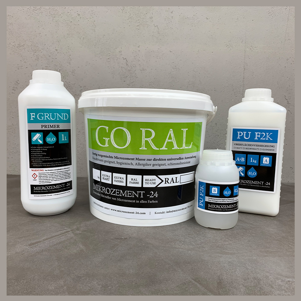 Mikrozement Microzemnt Set GORAL Bad Dusche Küche Treppe Wand Boden